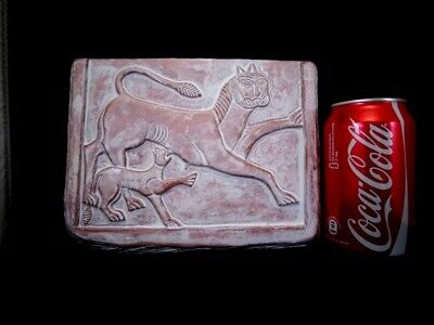 Ancient Terracotta Votive Plate Depicting Two Lions, Replica!!! 6
