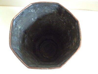 Persian Vintage Antique 8 Sided Copper Vase Etched Floral Rare 9
