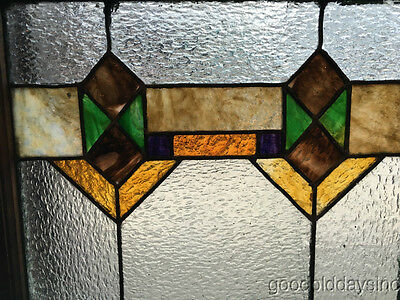 """Antique 1920s Chicago Bungalow Stained Leaded Glass Window 24 3/4"""" by 20"""""""