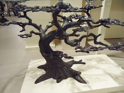 Coastal Cypress Tree Metal Gl Coffee Table Sculpture