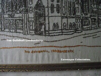 Vintage Linen Needlecraft Picture of Guildhall Londonderry.AH0705. 3