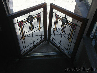"""Beautiful Pair of 1920's Chicago Bungalow Stained Glass Windows 32"""" x 27"""" 2"""