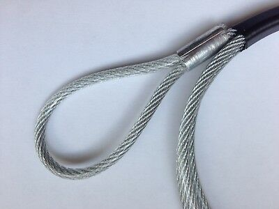 Länge 1m zur Warensicherung. Stahldraht-Seil D=2,5mm PVC-ROT ummantelt mit Ösen
