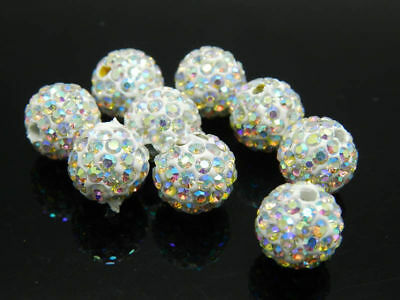 50Pcs Quality Czech Crystal Rhinestones Pave Clay Round Disco Ball Spacer Beads 8