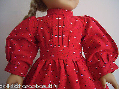 "Red School Dress + Shawl + Ribbons made for Pioneer Era 18"" Kirsten Doll Clothes 3"