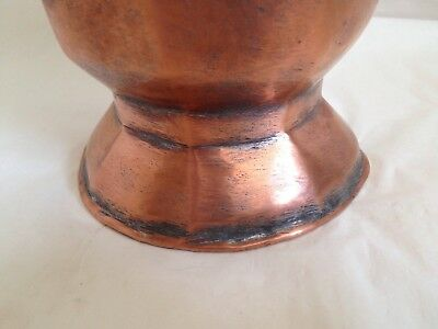 Persian Vintage Antique 8 Sided Copper Vase Etched Floral Rare 8