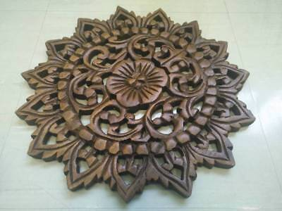 "12"" Vintage Carved Wood Wall Decor Panel Flowers Wall Art Beautiful Gift #2 6"