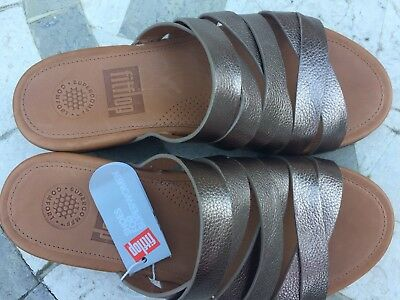 578100c3b ... NEW FitFlop Womens Lumy Leather Criss-Cross Slide Bronze Sandal - US 5 3