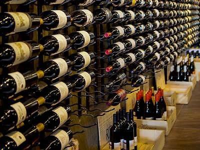 """Metal """"Strip"""" Wine Storage Rack - 9 bottles per wall rack"""