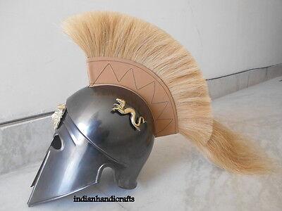 Greek King Spartan Corinthian  Black  Antique Finish Helmet W/drigon  Replica 2