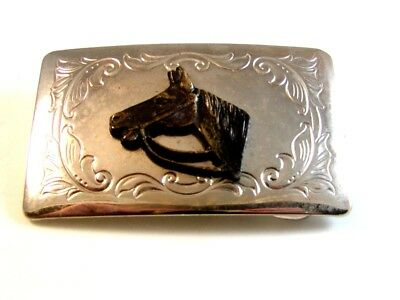 Vintage 1950 - 60's Horse Head Belt Buckle Made in U.S.A. 3