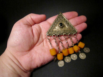RARE ANTIQUE 1800's. BILLON JEWELRY WITH YELLOW AMBER PENDANTS from the BALKANS! 9