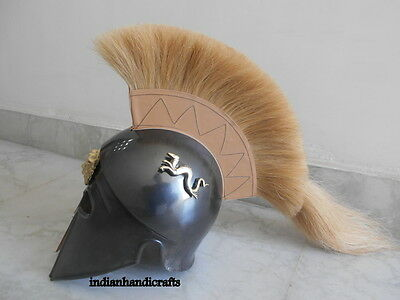 Greek King Spartan Corinthian  Black  Antique Finish Helmet W/drigon  Replica 4