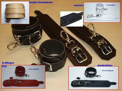 1 Pr Leder Handfesseln und 1 Paar Fußfesseln schwarz mit Schloss zum abschließen 5