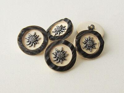 Trachtenknopf Trachtenknöpfe rund mit Öse  Hornoptik 5 Größen Edelweiss