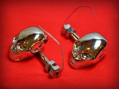 X4pcs Clignotant Tête de Mort Skull Chrome /& Diodes pour moto custom quad trike