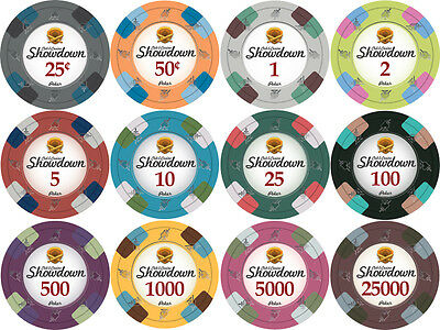 NEW 1000 Showdown 13.5 Gram Clay Poker Chips Acrylic Carrier Case Set Pick Chips 2