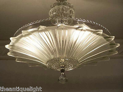 334 Vintage 30's 40's Ceiling Light Lamp Fixture  Chandelier Re-Wired SUNFLOWER 3