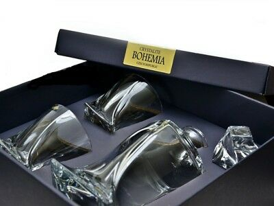 Crystal Glass Bar Decanter Spirits Set 850ml + 2 x 340ml Tumbler Quadro Twist