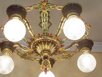 972 Vintage 20s 30s Ceiling Light  aRT Nouveau Polychrome Chandelier 2