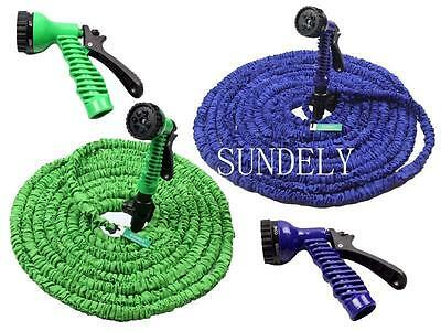 Portable Garden Water Coil Coiled Hose Pipe With Spray Nozzle Head 7 Patterns