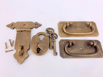 """2 BOX HANDLES latch PADLOC K brass chest old aged style patina 5"""" solid heavy 6"""