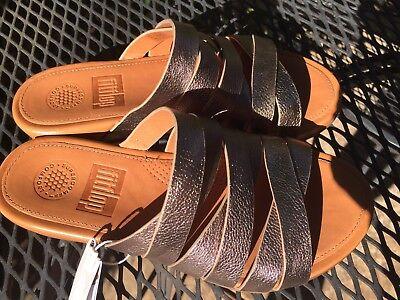 b4b8c8253 ... NEW FitFlop Womens Lumy Leather Criss-Cross Slide Bronze Sandal - US 5 6
