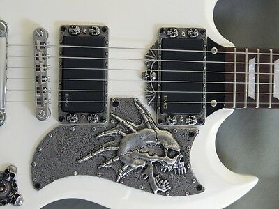 CUSTOM METAL SKULL PICKGUARD fits EPIPHONE G-400 SG GUITAR HAND MADE  special !