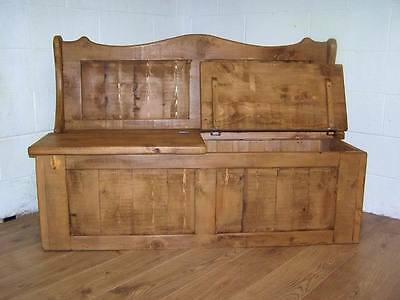 6Ft Wide 2 Seat Monks Storage Bench In Old Soli Rustic Pine We Can Make Any Size 3
