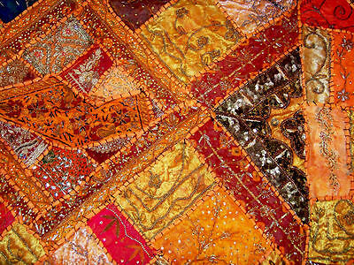 Sequin Bead Zardozi Work Hand Embroidered Antique Wall Tapestry/throw From India 3