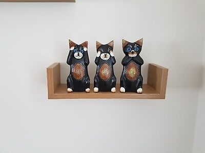 Set of 3 Hand Carved Fair Trade Wooden Cats CA-634-S Cappuccino