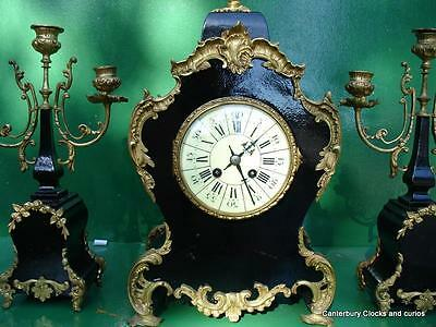 ANTIQUE JAPY FRERES 8 DAY ORMOLU ROCOCO BOULLE TYPE CANDELLABRAS CLOCK SET 1880c 6