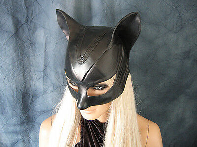 CATWOMAN HOOD MASK Female Latex Ear Maske Batman Katze Halloween Haube Pet Play