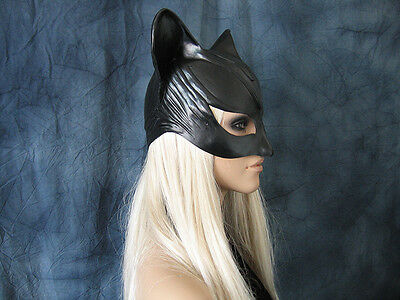 CATWOMAN HOOD MASK - Female Latex Ear Maske Batman Katze Halloween Haube Kitty 4