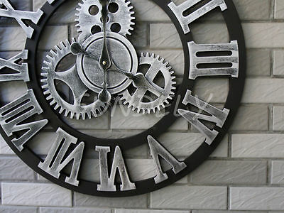 Large Silver And Black Roman Numeral Wall Clock For Home