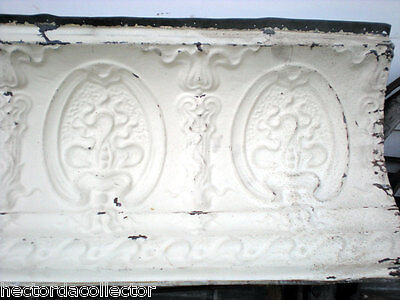 SALE Antique Victorian Ceiling Tin Tile 24 x 18 Acanthus Cameo Torch Shabby Chic 4