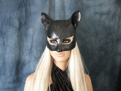 CATWOMAN HOOD MASK - Female Latex Ear Maske Batman Katze Halloween Haube Kitty 2