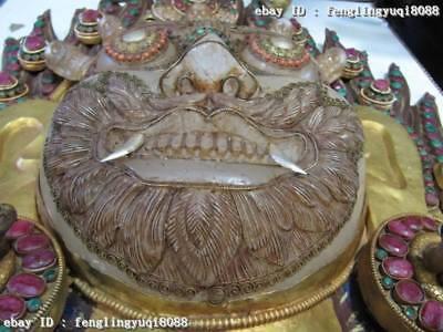 Tibet Buddha Copper Bronze Gild inlay beryl crystal Mahakala Buddha Mask statue 12