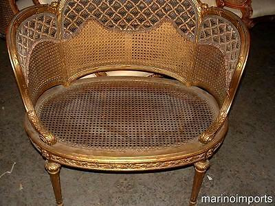 19th C. French Louis XVI Cane Corbeille Settee Chair~ 5
