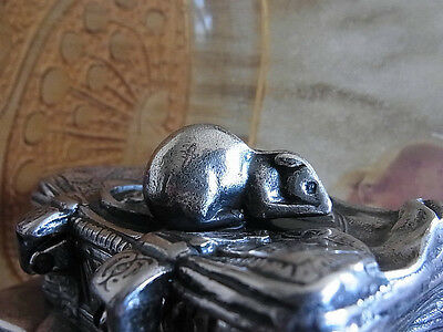 Antique SECRET BOX Silver with Mouse Russian taste PAPERWEIGHT snuff stamp 19th