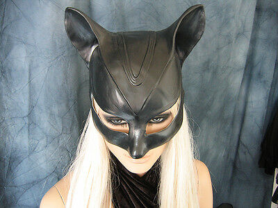 CATWOMAN HOOD MASK - Female Latex Ear Maske Batman Katze Halloween Haube Kitty 7