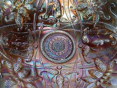 Northwood Carnival Art Glass Iridescent Marigold/Amethyst  Wishbone Pattern Bowl 7