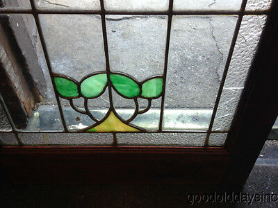 "Antique Chicago Stained Leaded Glass Cabinet Door / Window 48"" by 20"" 12"