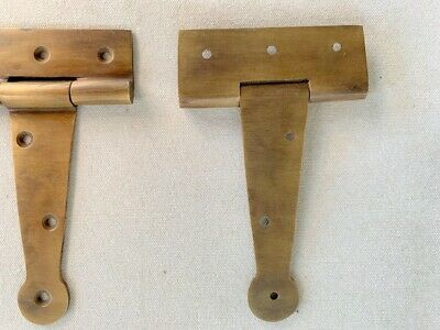 "2 small hinges vintage aged style solid Brass DOOR BOX heavy 4"" cast 8"