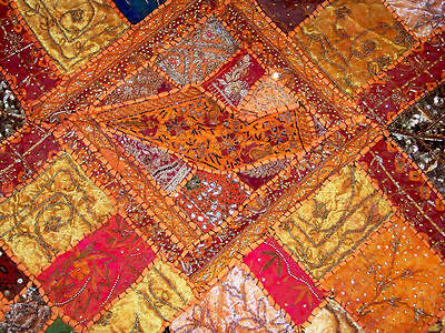 Sequin Bead Zardozi Work Hand Embroidered Antique Wall Tapestry/throw From India 4