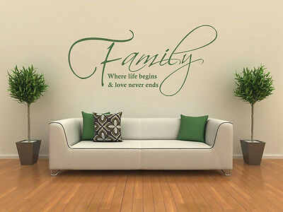 family where life begins wall art quote wall sticker decal