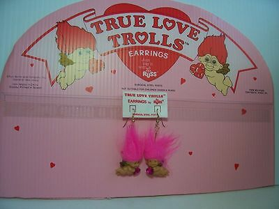 valentine cupid earrings 2 russ troll dolls new in package