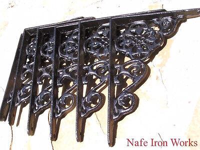6 Cast Iron Wall Shelf Brackets VICTORIAN Braces Black Small Corbels 6