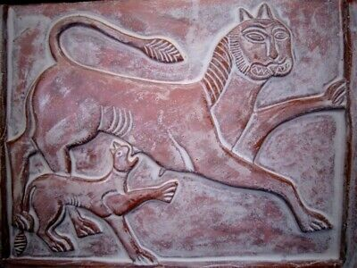 Ancient Terracotta Votive Plate Depicting Two Lions, Replica!!! 5