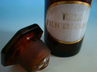 RS1119-030: Alte Apotheke Glas Flasche um 1900 Rhiz. Filicis Mar. Plv. 2